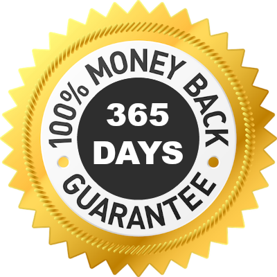 full year money back guarantee logo image