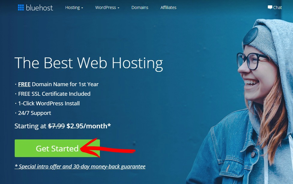 bluehost affiliate website screenshot 1