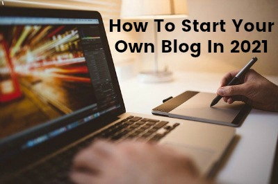 how to start a blog in 2021 laptop image