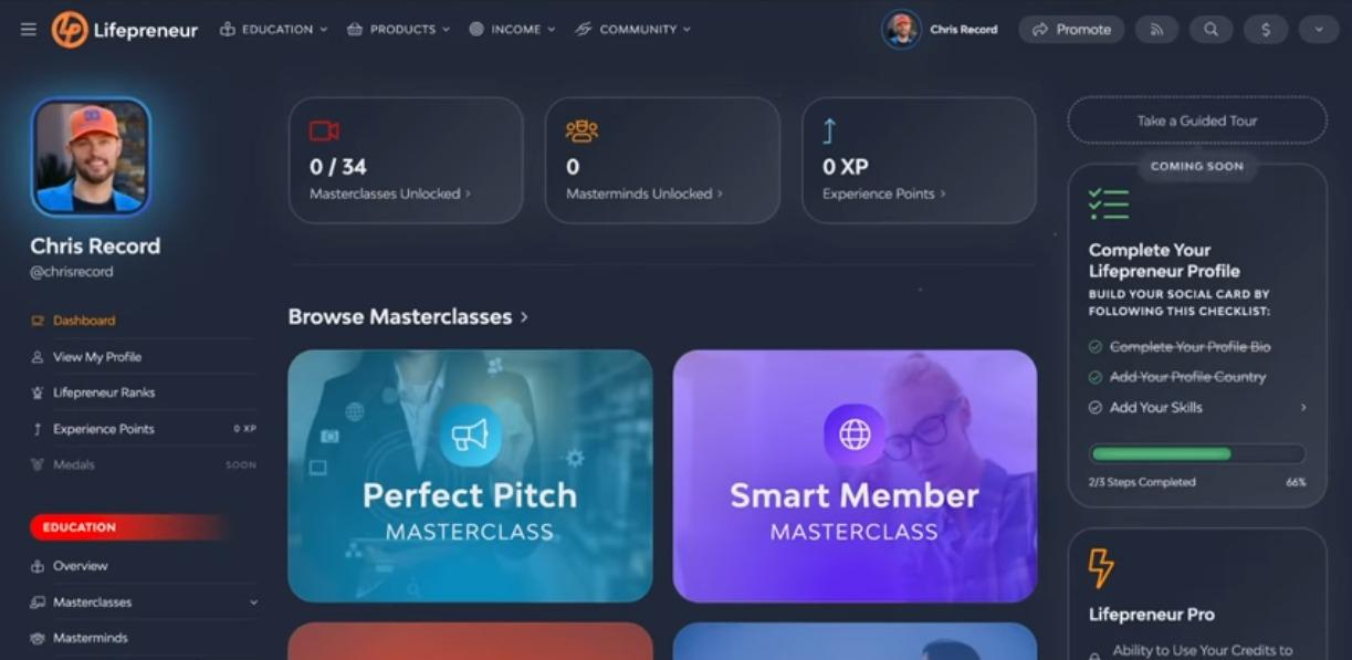 Lifepreneur review dashboard screenshot